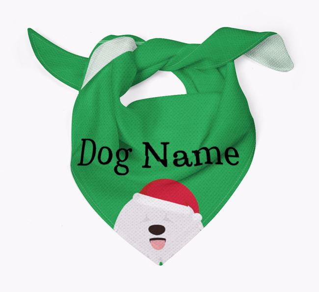 Personalised Christmas Bergamasco Icon 'Peeking' Bandana