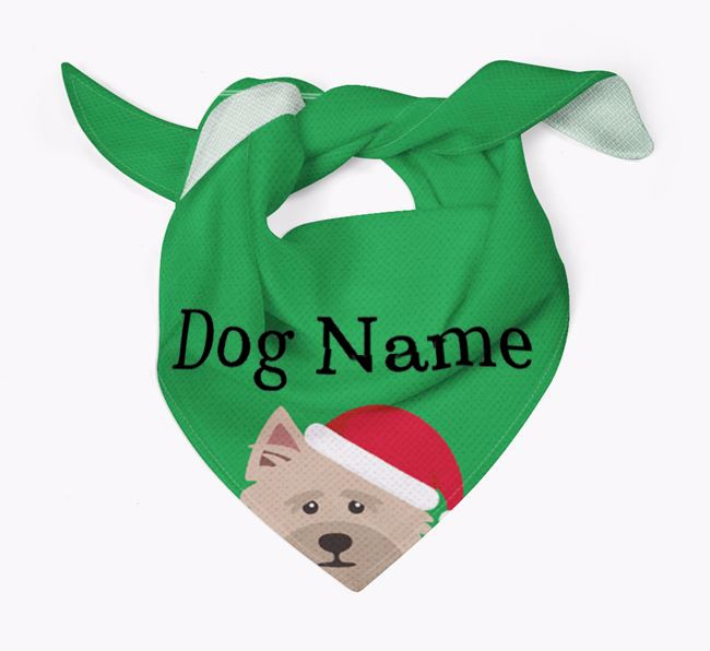 Personalised Christmas Cairn Terrier Icon 'Peeking' Bandana