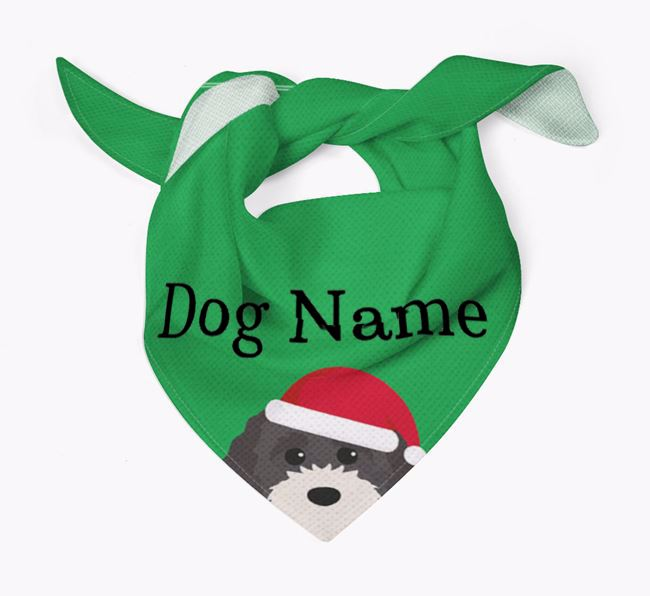 Personalised Christmas Cavapoochon Icon 'Peeking' Bandana