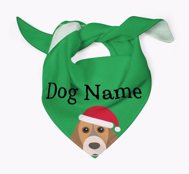 Personalised Christmas Cocker Spaniel Icon 'Peeking' Bandana