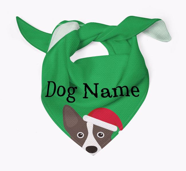 Personalised Christmas Corgi Icon 'Peeking' Bandana
