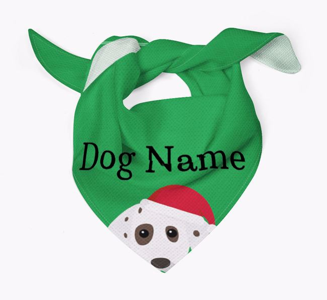Personalised Christmas Dalmatian Icon 'Peeking' Bandana