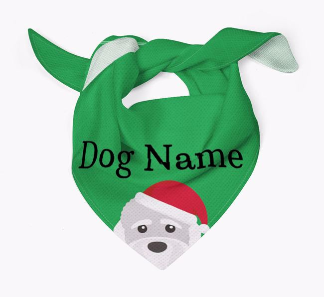 Personalised Christmas Dandie Dinmont Terrier Icon 'Peeking' Bandana