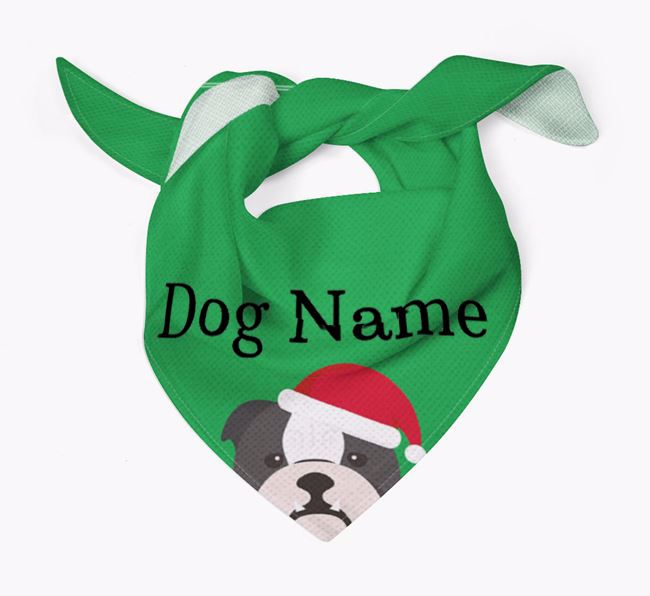 Personalised Christmas English Bulldog Icon 'Peeking' Bandana