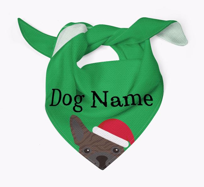 Personalised Christmas French Bulldog Icon 'Peeking' Bandana