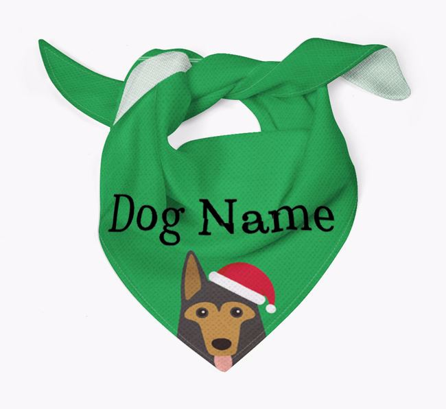 Personalised Christmas German Shepherd Icon 'Peeking' Bandana