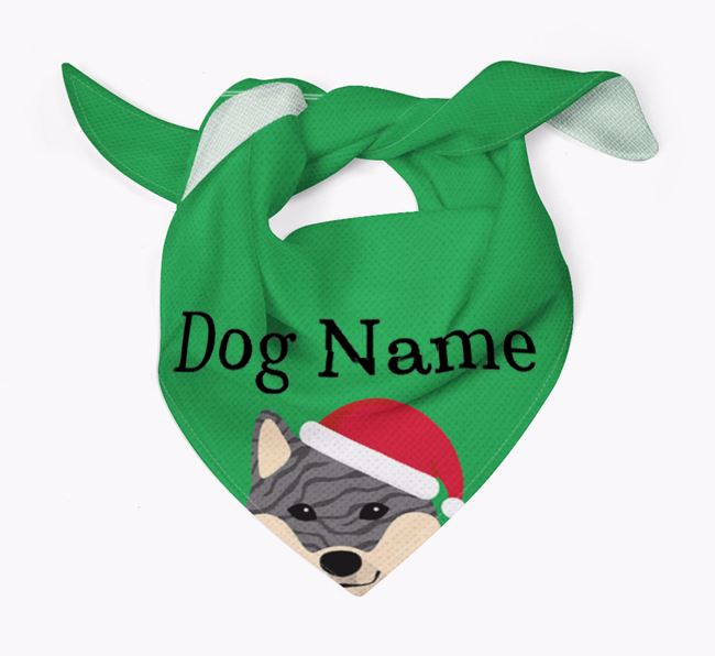 Personalised Christmas Japanese Shiba Icon 'Peeking' Bandana