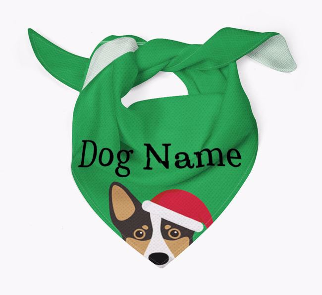 Personalised Christmas Lancashire Heeler Icon 'Peeking' Bandana