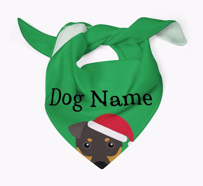 Personalised Christmas Manchester Terrier Icon 'Peeking' Bandana