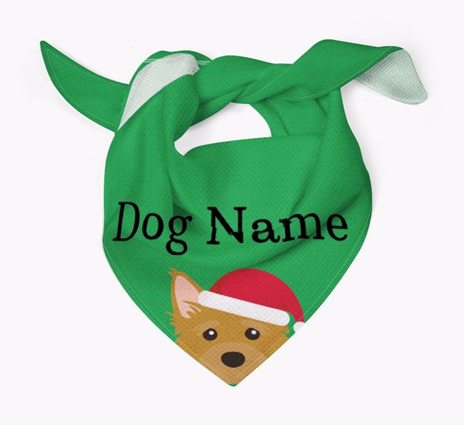 Personalized Christmas Mixed Breed Icon 'Peeking' Bandana