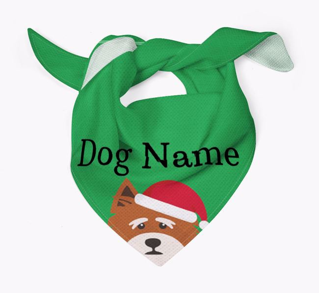 Personalised Christmas Norfolk Terrier Icon 'Peeking' Bandana