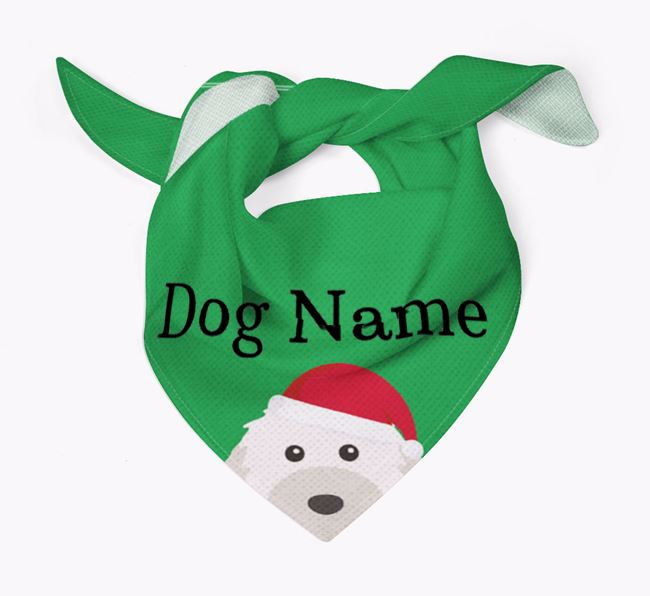 Personalised Christmas Powderpuff Chinese Crested Icon 'Peeking' Bandana