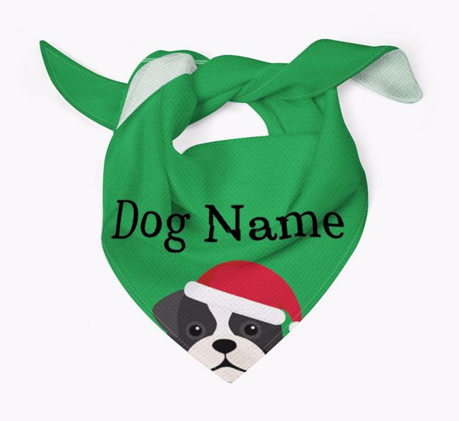 Personalised Christmas Pugapoo Icon 'Peeking' Bandana
