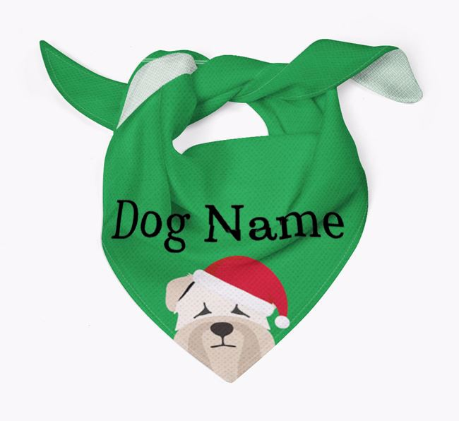 Personalised Christmas Soft Coated Wheaten Terrier Icon 'Peeking' Bandana