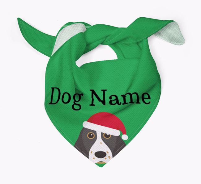 Personalised Christmas Springer Spaniel Icon 'Peeking' Bandana