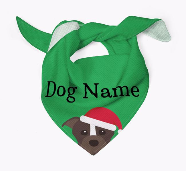 Personalised Christmas Staffordshire Bull Terrier Icon 'Peeking' Bandana