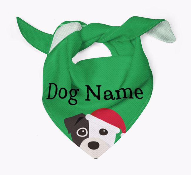 Personalised Christmas Staffy Jack Icon 'Peeking' Bandana