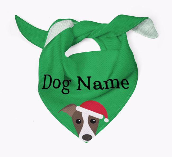 Personalised Christmas Whippet Icon 'Peeking' Bandana