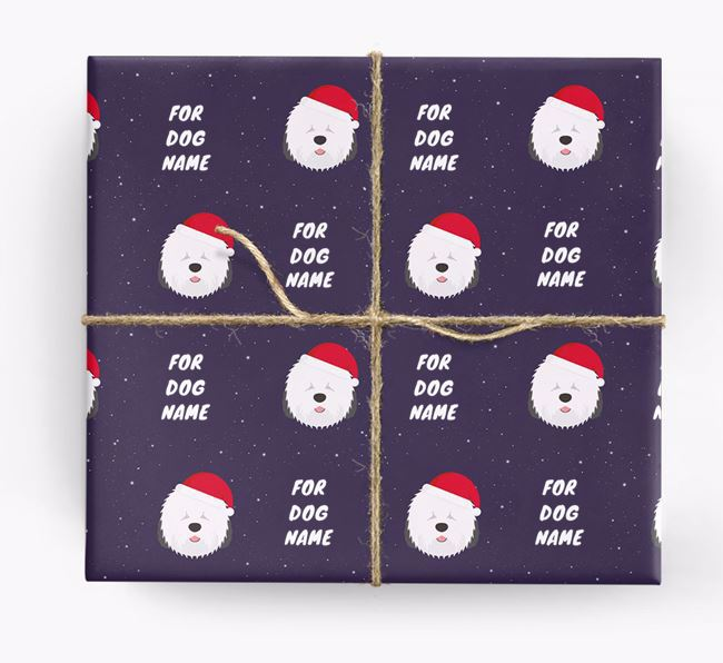Christmas Wrapping Paper for your Old English Sheepdog