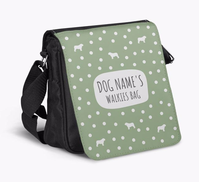Personalised 'Your Dog's Walkies' Shoulder Bag with English Bulldog Silhouette Pattern