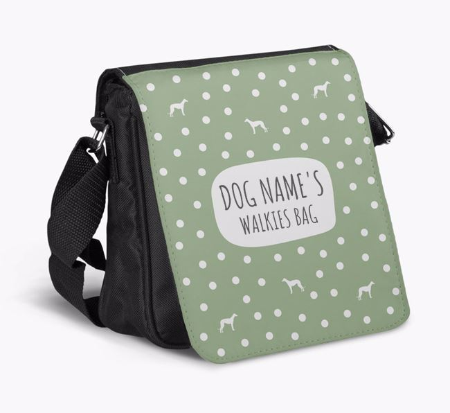 Personalised 'Your Dog's Walkies' Shoulder Bag with Whippet Silhouette Pattern