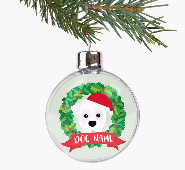 Personalised 'Wreath Design' Fillable Bauble with your Boxer Christmas Icon