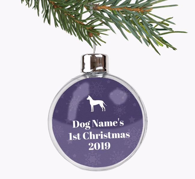 Personalised '1st Christmas' Fillable Bauble with your American Hairless Terrier Silhouette