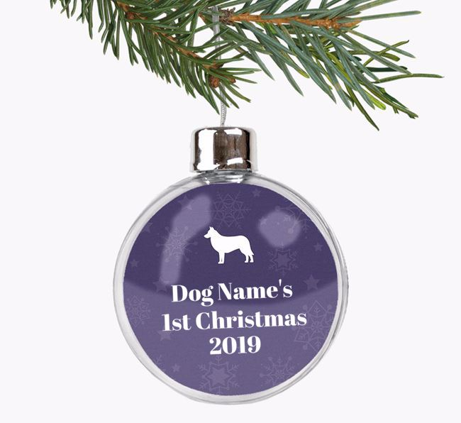 Personalised '1st Christmas' Fillable Bauble with your Belgian Laekenois Silhouette