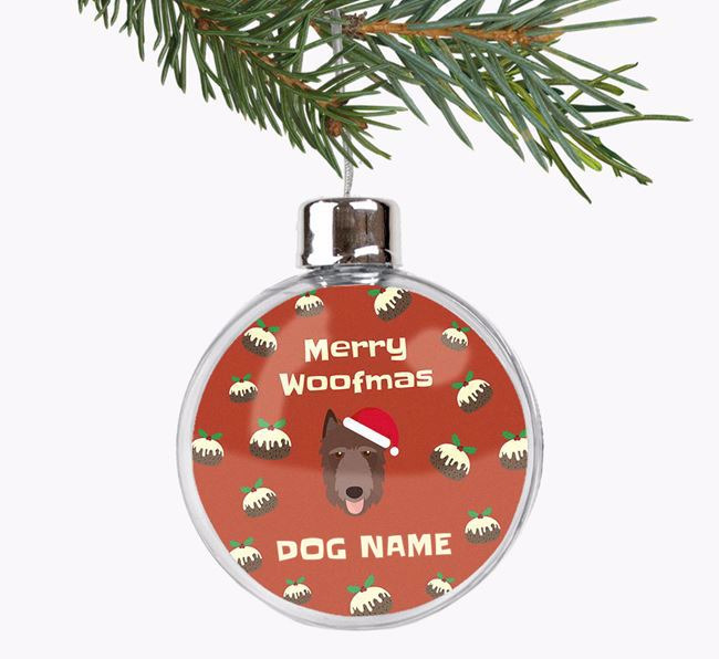 Personalised 'Merry Woofmas' Fillable Bauble with your Belgian Laekenois Christmas Icon