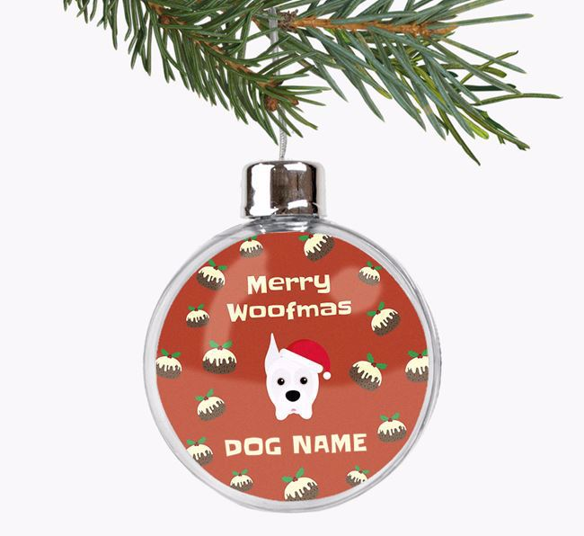Personalised 'Merry Woofmas' Fillable Bauble with your Boxer Christmas Icon