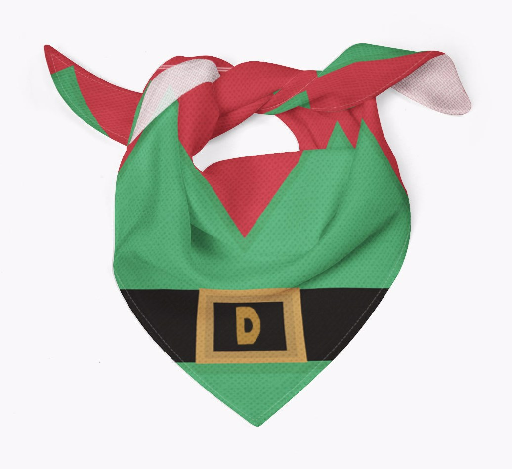 Personalized Elf Suit Christmas Bandana for your Golden Retriever Tied