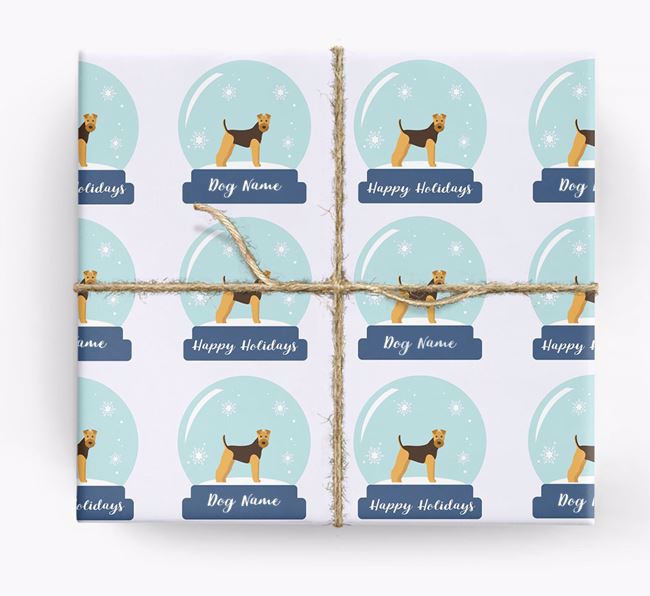 Personalized 'Snow Globe' Christmas Wrapping Paper with your Airedale Terrier Icon