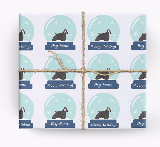 Personalised 'Snow Globe' Christmas Wrapping Paper with your American Cocker Spaniel Icon