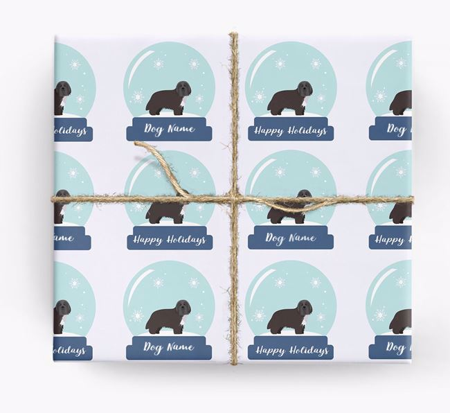 Personalized 'Snow Globe' Christmas Wrapping Paper with your Bearded Collie Icon