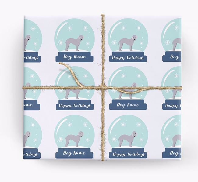 Personalized 'Snow Globe' Christmas Wrapping Paper with your Bedlington Terrier Icon