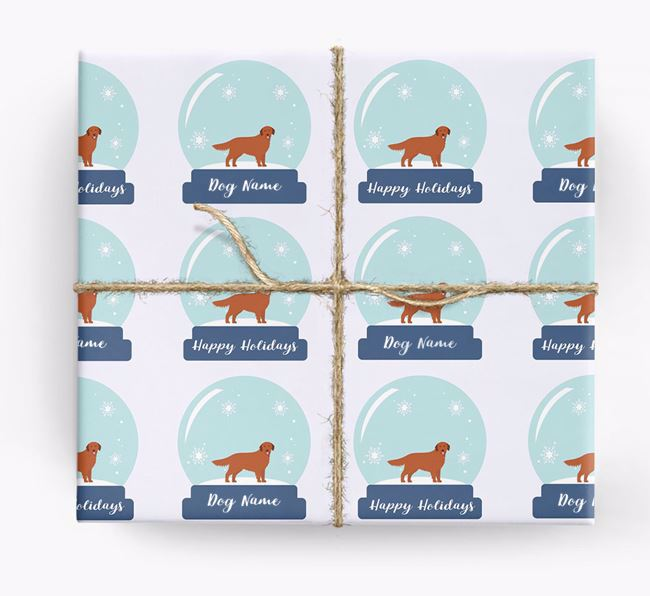Personalized 'Snow Globe' Christmas Wrapping Paper with your Golden Retriever Icon