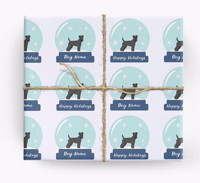 Personalized 'Snow Globe' Christmas Wrapping Paper with your Lakeland Terrier Icon