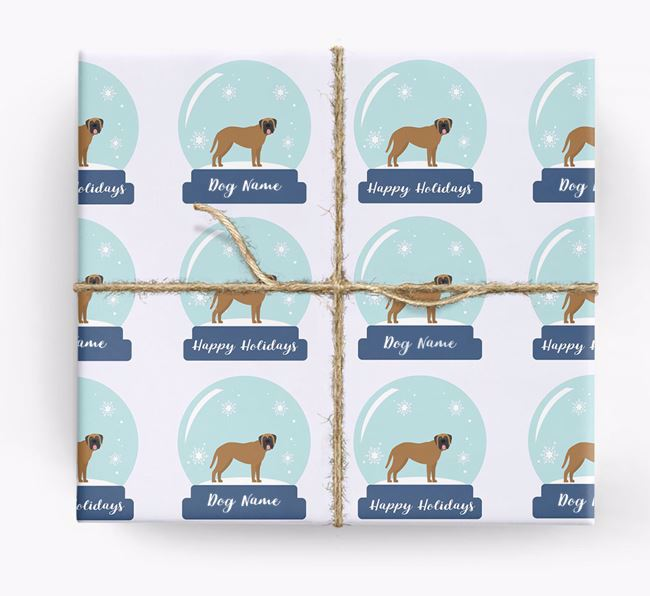 Personalized 'Snow Globe' Christmas Wrapping Paper with your Mastiff Icon