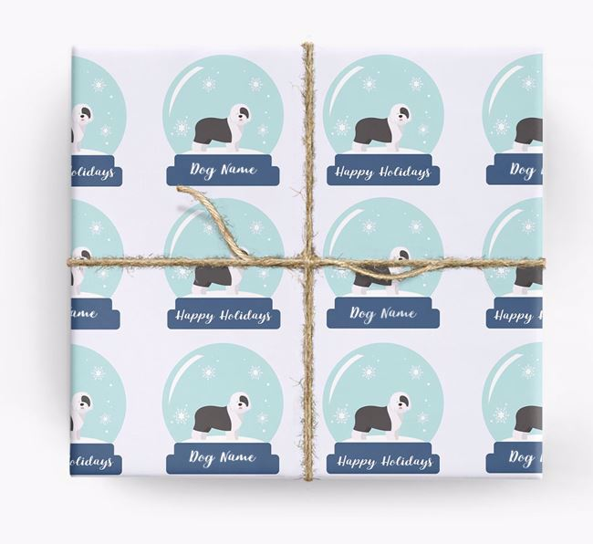 Personalized 'Snow Globe' Christmas Wrapping Paper with your Old English Sheepdog Icon