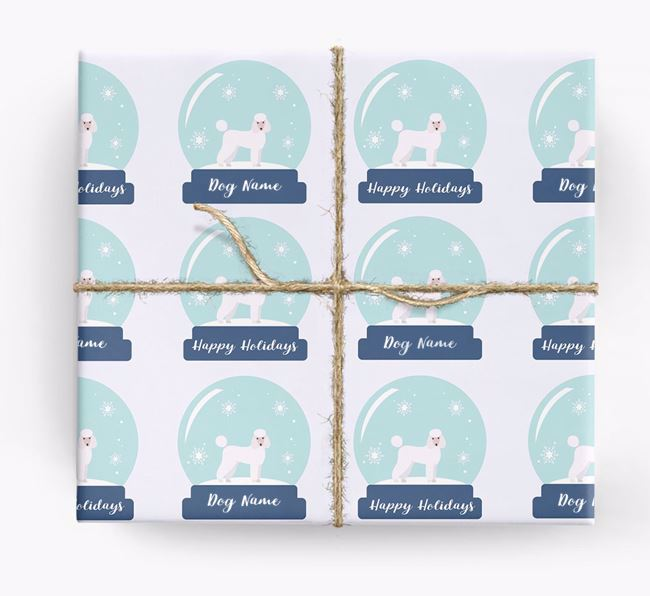 Personalised 'Snow Globe' Christmas Wrapping Paper with your Poodle Icon