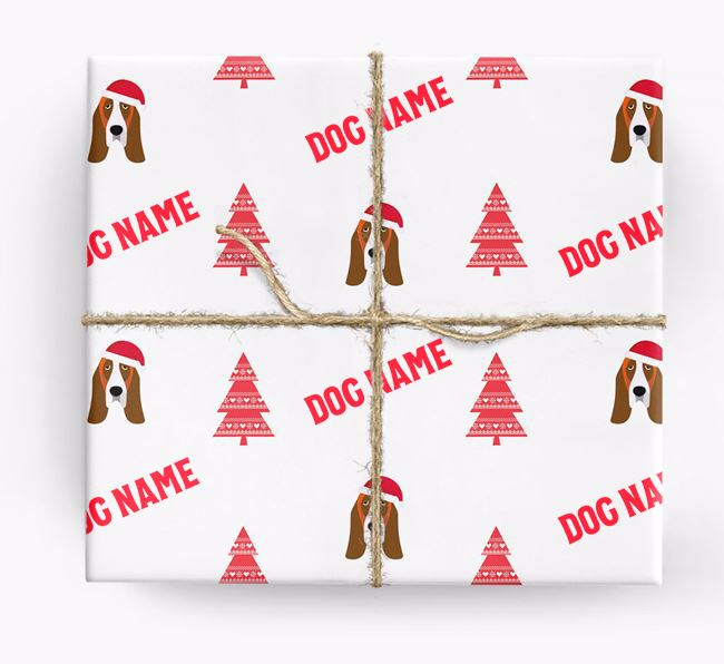 Personalised Christmas Wrapping Paper with your Basset Hound Icon