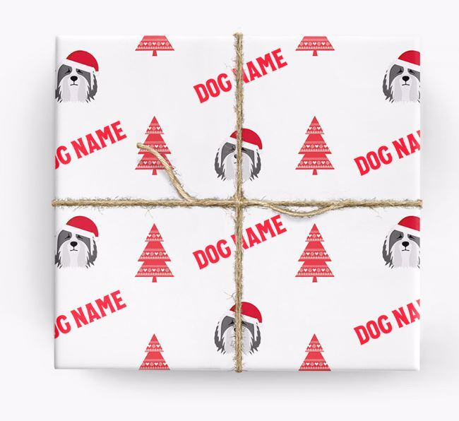 Personalized Christmas Wrapping Paper with your Bearded Collie Icon