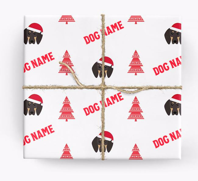 Personalised Christmas Wrapping Paper with your Black and Tan Coonhound Icon