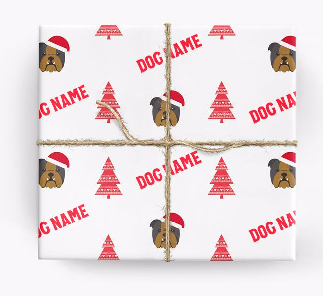 Personalised Christmas Wrapping Paper with your English Bulldog Icon