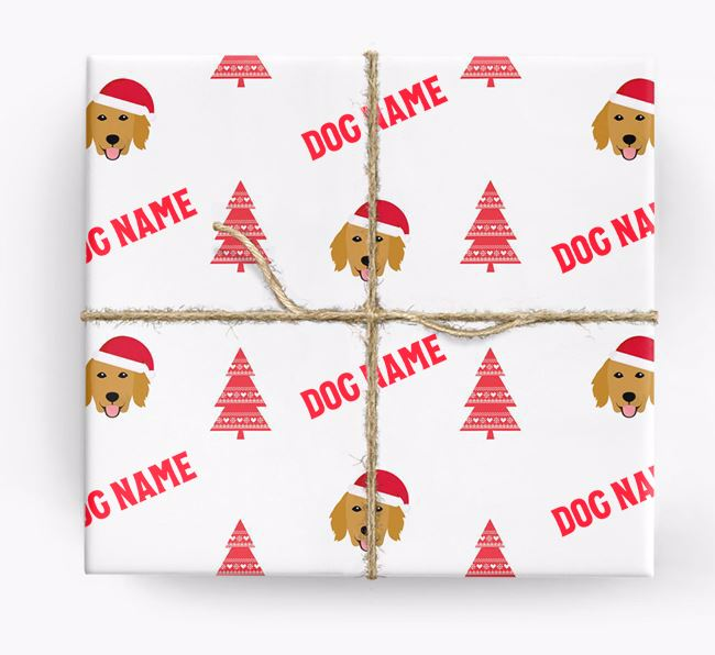 Personalized Christmas Wrapping Paper with your Flat-Coated Retriever Icon