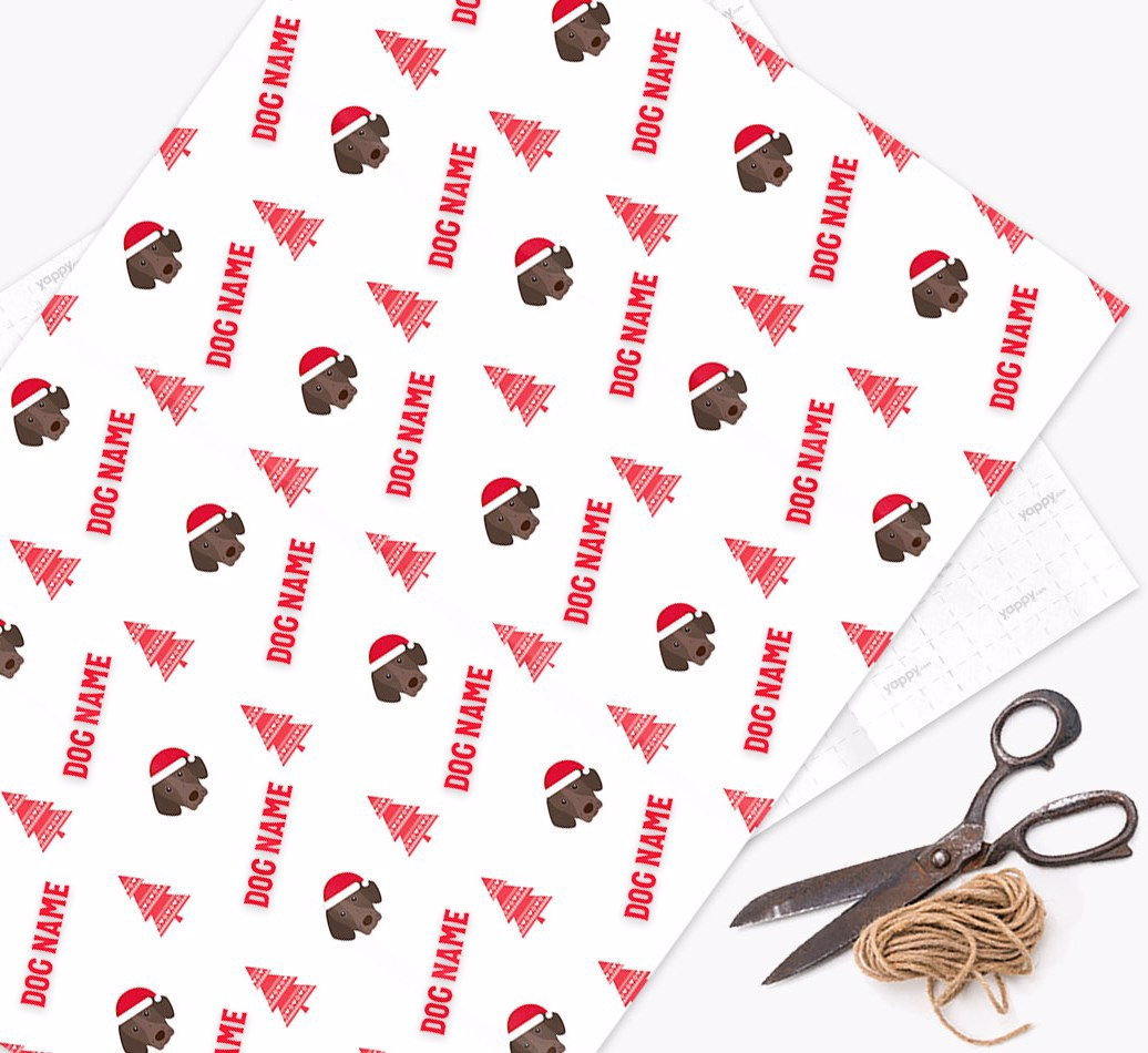 Personalized 'Knitted Tree' Christmas Wrapping Paper with your German Shorthaired Pointer Icon