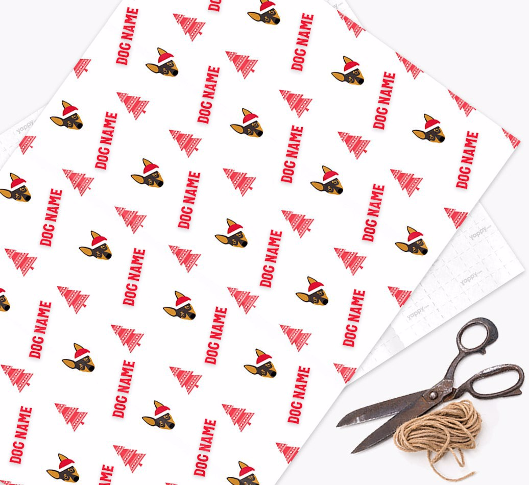 Personalized 'Knitted Tree' Christmas Wrapping Paper with your Miniature Pinscher Icon
