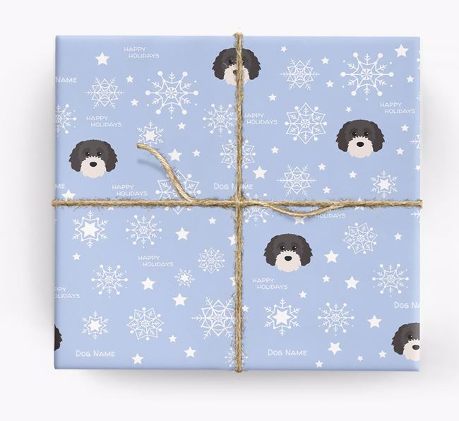 Personalised 'Happy Holidays' Christmas Wrapping Paper with your Cavapoochon Icon