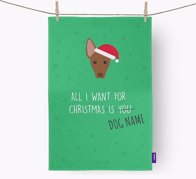 Tea Towel 'All I Want for Christmas is...' with American Hairless Terrier Icon