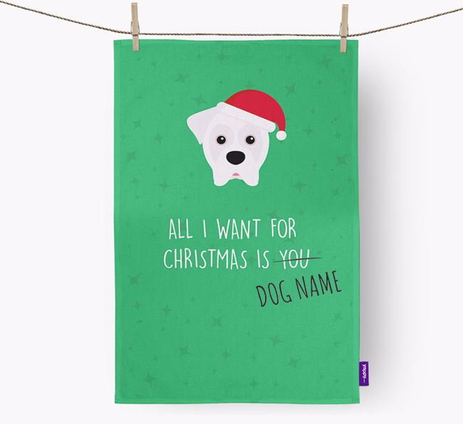 Tea Towel 'All I Want for Christmas is...' with Boxer Icon